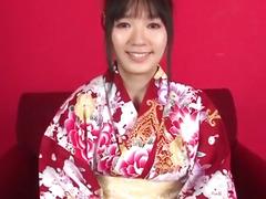 Dazzling casting along kimono girl Chiharu