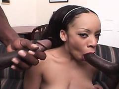 Dazzling ebony chick seduces two black stallions to punish her holes