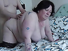 Fucking BBW doggy, swinging tits2