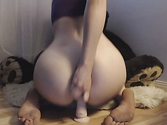 Cam menacing-threatening Legal Age Teenager Plugs Booty And Rides Sex-Toy.mp4