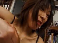 Yuka Takahashi arouses stud and sucks penis