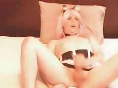 Breasty Blond Shelady Jerking on Web Camera