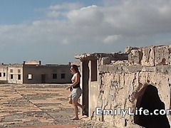 outdoor fucking and facial on the roof with real dilettante mother I'd like to fuck EmilyLife.com
