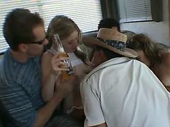 Drunk brunette hair juvenile dilettante playgirl has joy wtih musicians in a truck.fearsome Hawt movie scene