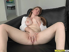 Beautiful redhead's screwed by a large rod