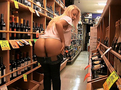 At The Wine Store That Babe Flashes Her Wobblers And Hairless Cookie