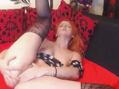 Nice-Looking Red Head Camgirl Plays Her Twat