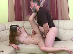Cheating booty cutie Nina bonks an old overweight fart whilst her boyfriend is out