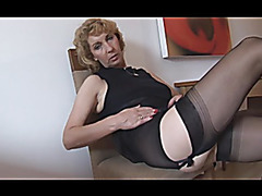 Older blond chick with obese bald muff lips in open gird