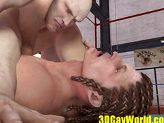 Brutal fuck of beefy muscle chaps in the boxing ring.menacing 3D Homosexual Animated Clip