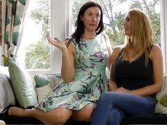 Masturbating lesbo milfs simulate phone sex