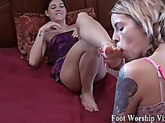Sadie worships Bellas gorgeous feet