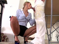Arousing blond secretary Erica Fontes enjoys unfathomable fucking with this chab boss's son