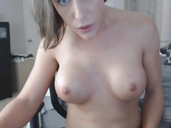 Breasty Golden-Haired Lady-Man Rides Sextoy on Web Camera