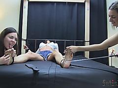 Tortured feet tickled