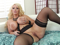 Tantalizing blond with biggest meatballs craves to ride her partner's knob