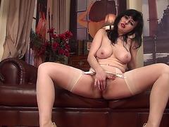 Slutty Nikita rubbing shaggy twat menacing-menacing PornDoe