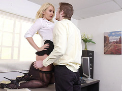 Gorgeous golden-haired in hot nylons bounces on the rod with lots of skill