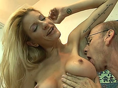 Blond seductress nailed in a missionary position