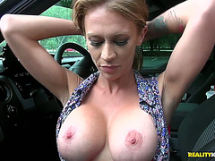 Skinny doxy with large fake mambos April Mae receives rammed hard
