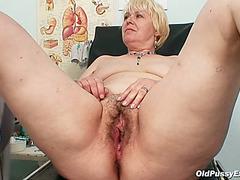 Rapacious obese granny Bozena masturbates with fake penis