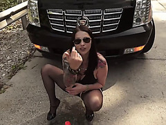 bella bitch anal fisting in street behind a car