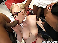 White waitress group-fucked by group of dark