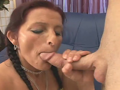Old redheade woman sucks a jock and acquires screwed doggy style