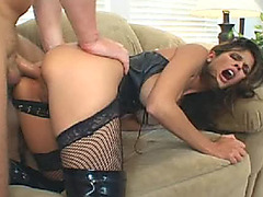 Leather underware whore rammed in face and wazoo