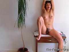 Hirsute college hotty masturbates her oozing cum-hole