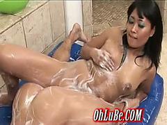 hawt oriental sweetheart giving soapy sex massage
