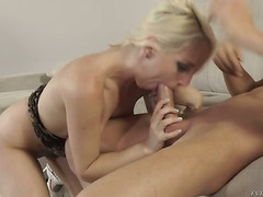 Golden-Haired wench Jimena Lago puts her luscious lips on males sturdy meat pole