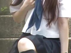 Flashing legal age teenager oriental pees