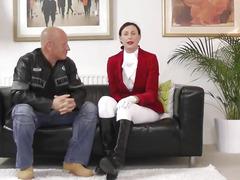 Chic equestian rides and sucks jock