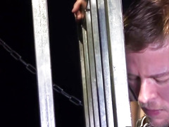 Leashed sub doggystyled by slavemaster taskmaster in cage