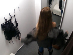 Precious Dark Brown Changing menacing her Brassiere in Public Store