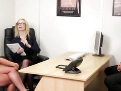 Euro CFNM femdom engulfing rod in office