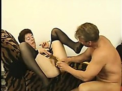 Hairy Granny in Stockings Fucks Again