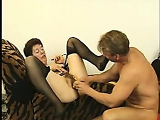 Porno Video of Hairy Granny In Stockings Fucks Again