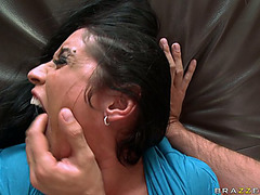 Dark Brown cougar Monica Santhiago sucks cock and submits her backdoor for pounding