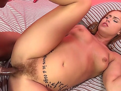 Lusty redhead wench Edyn Blair menacing acquires her hirsute pussy nailed
