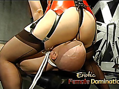 Delightful Oriental minx makes this lewd bound-up stud-horse very