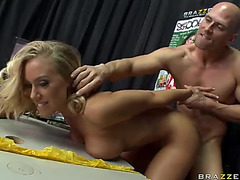 Large boobed blond doll Nicole Aniston receives a test fuck