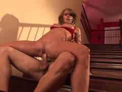 Enchanting mother I'd like to fuck Kristina Cross acquires her trimmed twat gangbanged on stairs