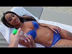 Hot Latin Chick Stops Sunbathing To Go Engulf Jock