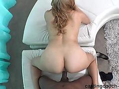 Enchanting blond hottie has interracial sex during casting menacing-threatening PornDoe