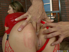 Large wazoo wench Trina Michaels in red latex outfit