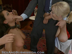 Golden-Haired and Brunette Hair Slaves Acquire Intimate S&M Party