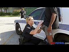 Golden-Haired female police suggest sucks a dark weenie in the street