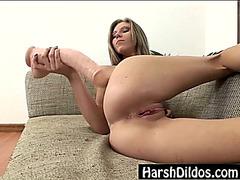 Diminutive blond pounding 2 large dildos